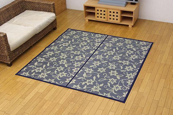 純国産 い草花ござ 『紅葉唐草』 江戸間2畳(約174×174cm) リバーシブルタイプ