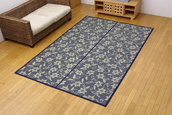 純国産 い草花ござ 『紅葉唐草』 江戸間3畳(約174×261cm) リバーシブルタイプ