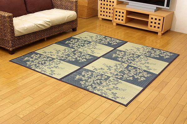 い草花ござカーペット 『DX萩』 ブルー 江戸間8畳(約348×352cm) (裏:不織布)