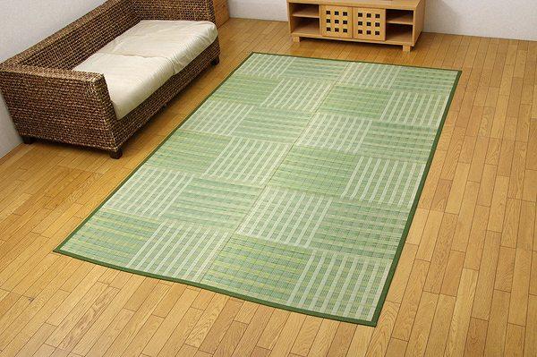 い草花ござ カーペット 『dkピース』 グリーン 江戸間6畳(約261×352cm):送料0円 家具