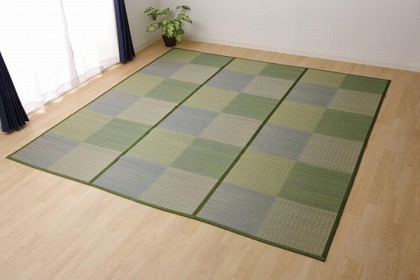 い草ラグ 花ござ カーペット ラグ 8畳 格子柄 市松柄 『DXピーア』 ブルー 本間8畳 (約382×382cm) 裏:不織布
