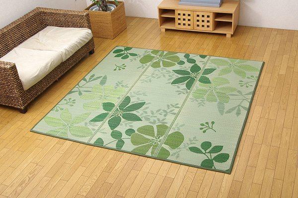 花柄 ふっくらボリュームい草ラグカーペット 『NSPエレガント』 グリーン 約200×200cm (裏:滑りにくい加工)