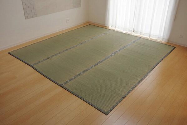 純国産 い草 上敷き カーペット 糸引織 『湯沢』 六一間6畳(約277×368cm)