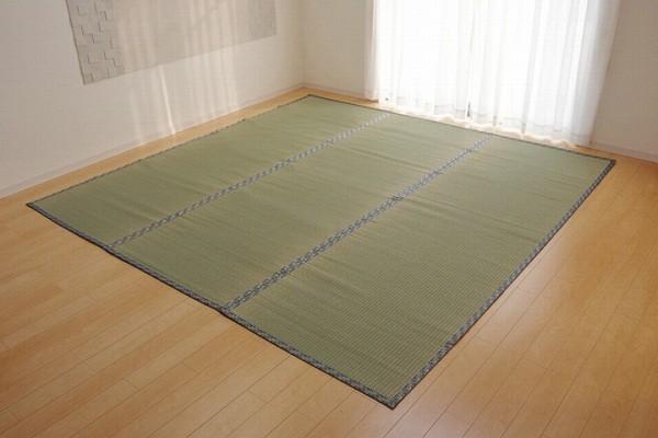 純国産 い草 上敷き カーペット 糸引織 『柿田川』 三六間6畳(約273×364cm)