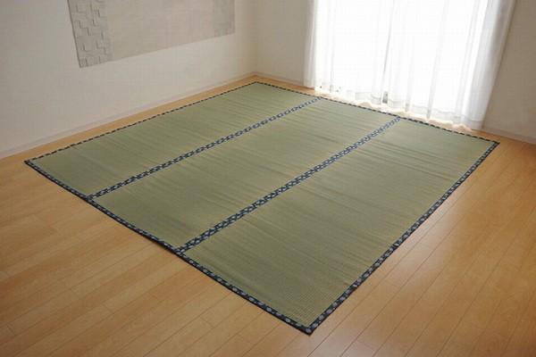 純国産 い草 上敷き カーペット 双目織 『ほほえみ』 本間6畳(約286×382cm)