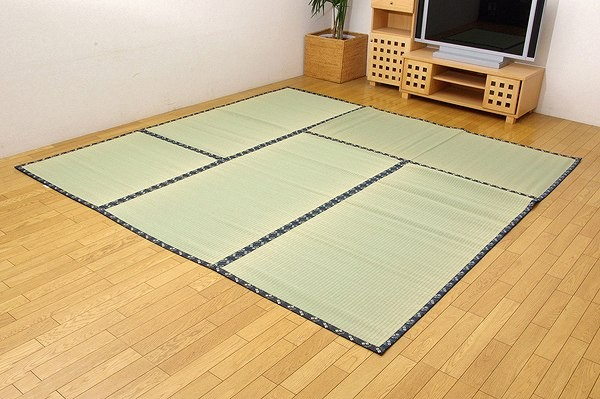 純国産 い草 上敷き カーペット 糸引織 『日本の暮らし』 江戸間8畳(約352×352cm)