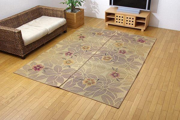 純国産 袋織 い草ラグカーペット 『DXなでしこ』 ベージュ 約191×250cm(裏:不織布)