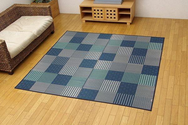 純国産 袋織い草ラグカーペット 『京刺子』 ブルー 約191×191cm
