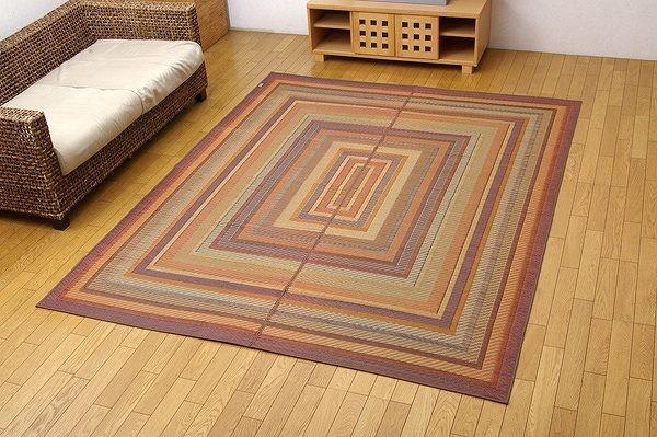 純国産 袋三重織 い草ラグカーペット 『DXグラデーション』 ブラウン 約140×200cm(裏:不織布)
