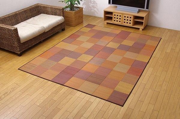 純国産 袋三重織 い草ラグカーペット 『DXカラフルブロック』 ブラウン 約140×200cm(裏:不織布)