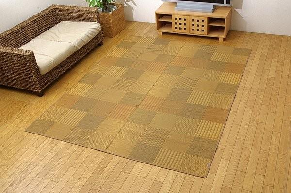 純国産 袋織 い草ラグカーペット 『DX京刺子』 ベージュ 約191×300cm(裏:不織布)