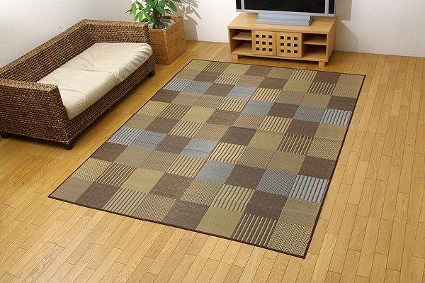 純国産 袋織 い草ラグカーペット 『DX京刺子』 ブラウン 約191×300cm(裏:不織布)
