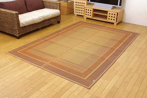 純国産 い草花ござカーペット 『ランクス総色』 ベージュ 江戸間4.5畳(約261×261cm)