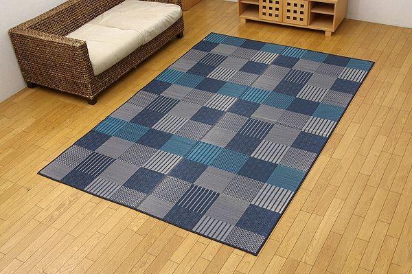 純国産 い草花ござカーペット 『京刺子』 ブルー 江戸間6畳(約261×352cm)