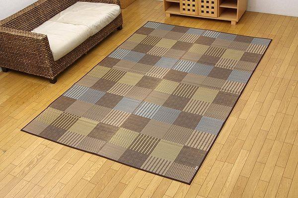 純国産 い草花ござカーペット 『京刺子』 ブラウン 江戸間8畳(約348×352cm)