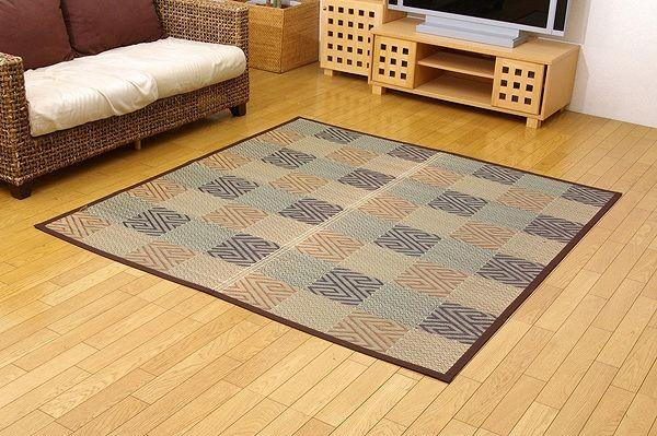 純国産 い草花ござカーペット 『五風』 ブラウン 江戸間4.5畳(約261×261cm)