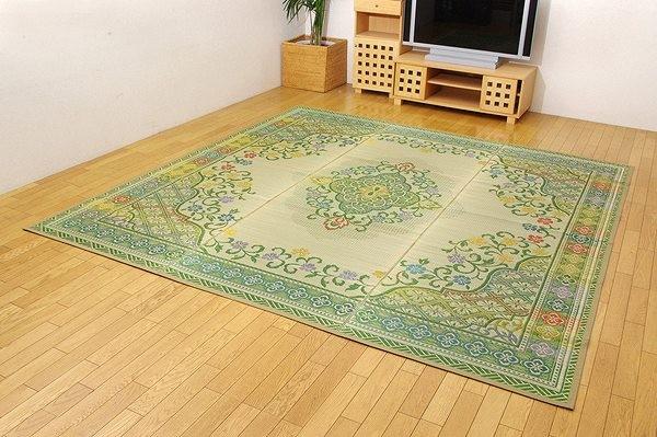 純国産 い草花ござカーペット 『アシック』 グリーン 本間8畳(約382×382cm)