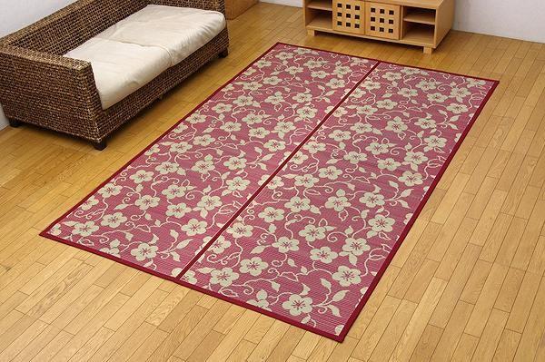 純国産 い草花ござ 『梅唐草』 江戸間8畳(約348×352cm) リバーシブルタイプ