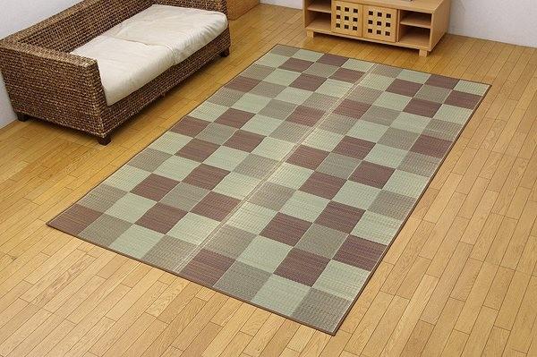 純国産 い草花ござカーペット 『ブロック』 ブラウン 江戸間6畳(約261×352cm)