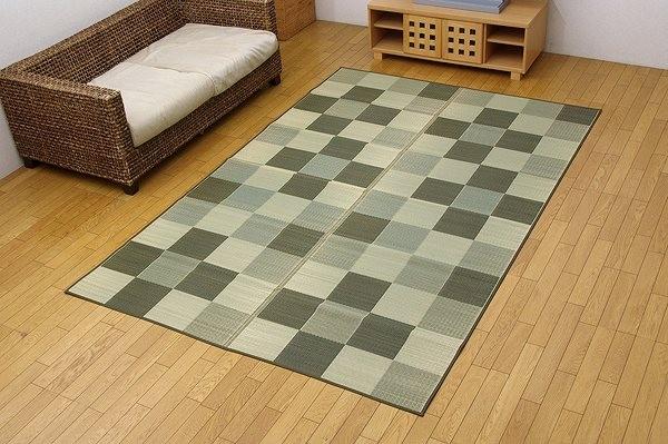 純国産 い草花ござカーペット 『ブロック』 グリーン 江戸間10畳(約435×352cm)