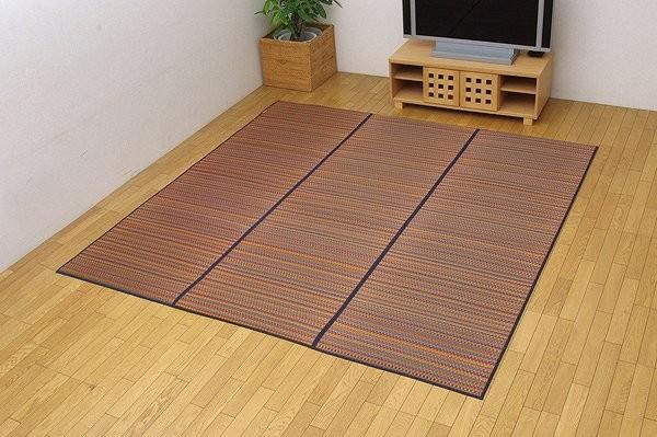 純国産 い草ラグカーペット 『Fバリアス』 ブルー 240×240cm (裏:ウレタン)