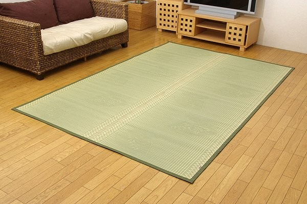 純国産 イ草花ござカーペット 『扇』 江戸間10畳(約352×435cm)