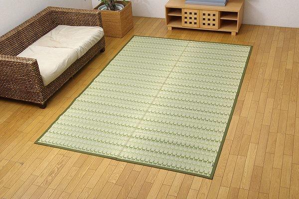 純国産 掛川織 い草カーペット 『宮之浦』 グリーン 江戸間3畳(約174×261cm)