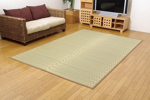 純国産 掛川織 い草カーペット 『松川』 ベージュ 江戸間3畳(約174×261cm)