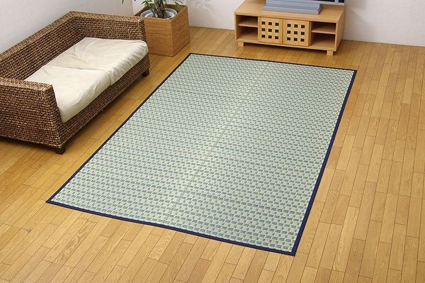 掛川織 い草カーペット 『雲仙』 ブルー 江戸間6畳(約261×352cm)