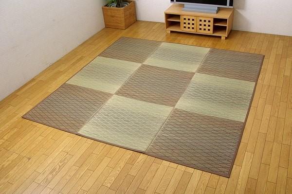い草花ござカーペット 『FXダイヤ 裏貼CP』 ブラウン 約240×320cm(中材:ウレタン)