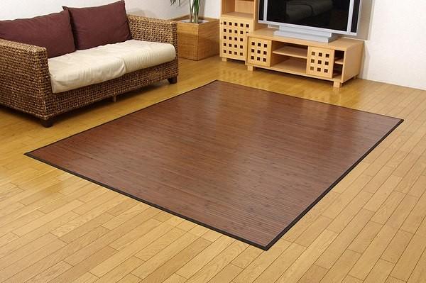 竹カーペット 無地 糸なしタイプ 『ユニバース』 ダークブラウン 150×220cm