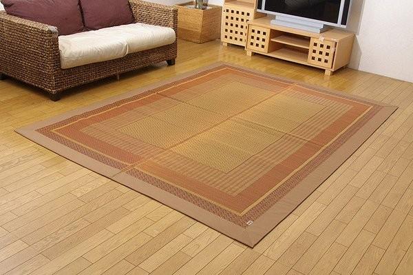 純国産 い草ラグカーペット 『DXランクス総色』 ベージュ 約191×250cm (裏:不織布)