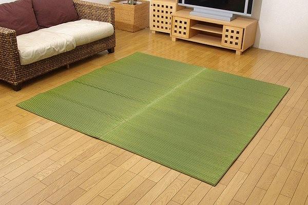純国産 い草ラグカーペット 『Fソリッド』 グリーン 約140×200cm(裏:ウレタン)