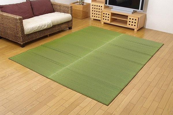 純国産 い草ラグカーペット 『Fソリッド』 グリーン 約191×250cm(裏:ウレタン)
