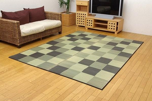 純国産 い草ラグカーペット 『Fブロック2』 グレー 約191×250cm(裏:ウレタン)