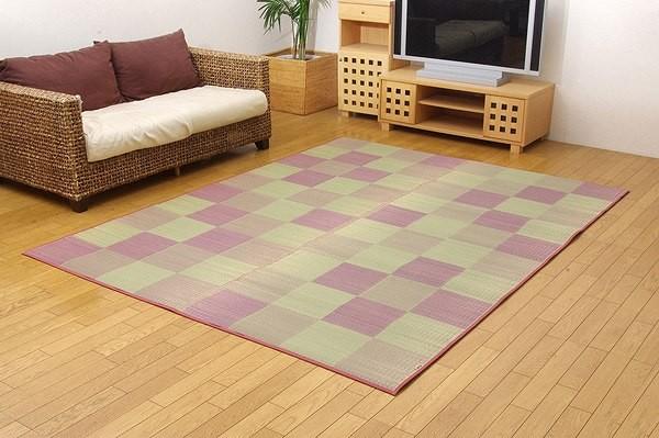 純国産 い草ラグカーペット 『Fブロック2』 ピンク 約191×250cm(裏:ウレタン)