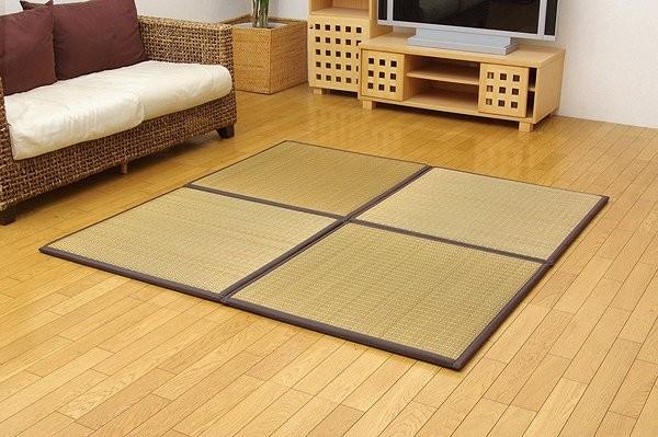 純国産 置き畳 ユニット畳 『ふっくらピコ』 ブラウン 82×82×2.2cm(4枚1セット)(中材:ウレタンチップ+硬綿)