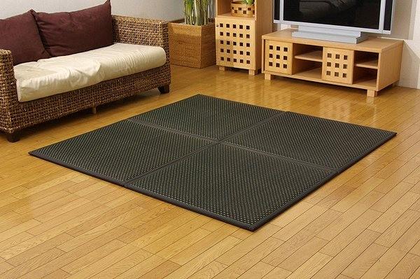 置き畳 ユニット畳 『フレア』 ブラック 82×82×2.3cm(4枚1セット)(中材:低反発ウレタン+フェルト)