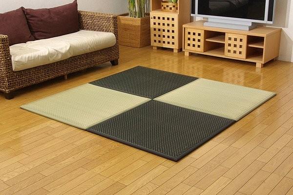 置き畳 ユニット畳 『フレア』 82×82×2.3cm 9枚(ナチュラル5枚 ブラック4枚)1セット (中材:低反発ウレタン+フェルト)