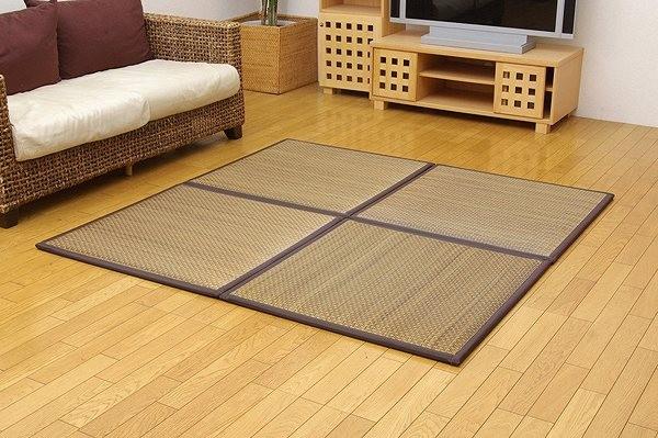 置き畳 ユニット畳 『タイド』 ブラウン 82×82×2.3cm(4枚1セット)(中材:低反発ウレタン+フェルト)