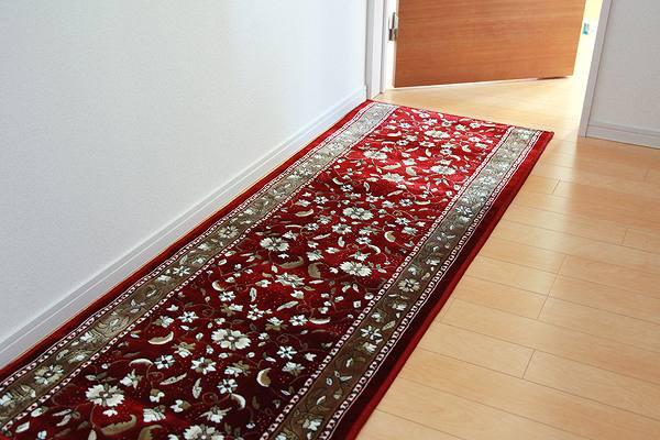 廊下敷 モケット織り 王朝柄 『オーク』 ワイン 約80×340cm 滑りにくい加工