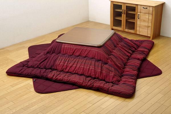 綿100% 無地調 国産 こたつ布団 掛敷セット 『いろり』 茜(レッド) 約215×215cm