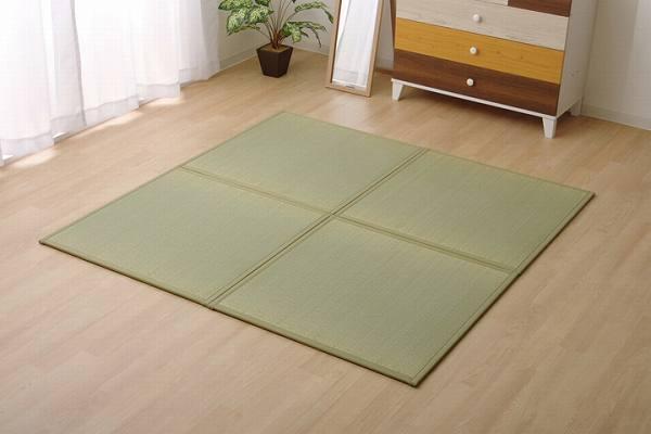 置き畳 半畳 い草ラグ 『かるピタ』 グリーン 82×82cm 6枚組 (裏:滑りにくい加工)