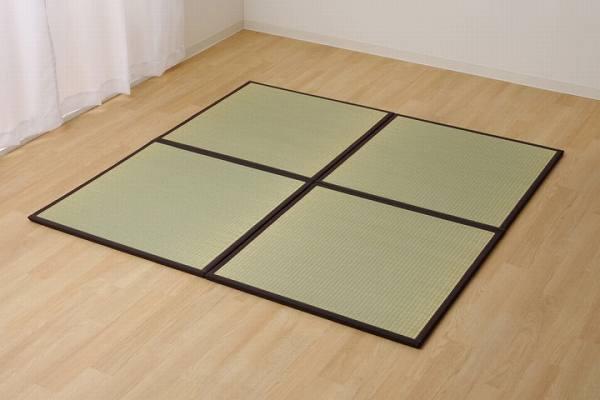 置き畳 半畳 国産 い草ラグ 『あぐら』 ブラウン 約82×82cm 9枚組