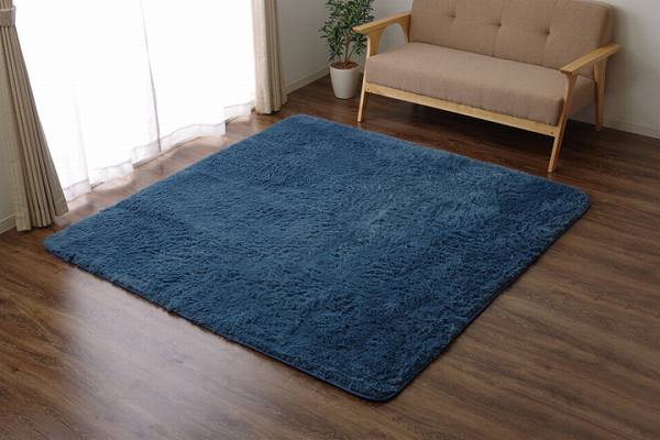 ラグ カーペット 4畳 シャギー 無地 北欧 マイクロファイバー 『ミスティ―IT』 ブルー 約200×300cm (ホットカーペット対応)