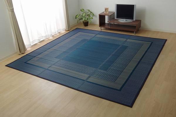 ラグ 国産 い草 ござ カーペット 『ランクス』 ネイビー 江戸間4.5畳(約261×261cm)