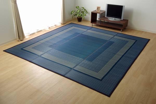 ラグ 国産 い草 ござ カーペット 『DXランクス』 ネイビー 江戸間6畳(約261×352cm)