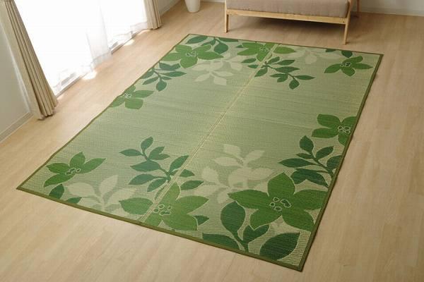 い草ラグ カーペット 約2畳 リーフ柄 長方形 『NSフォリオ』 グリーン 約191×300cm (裏:不織布)滑りにくい加工