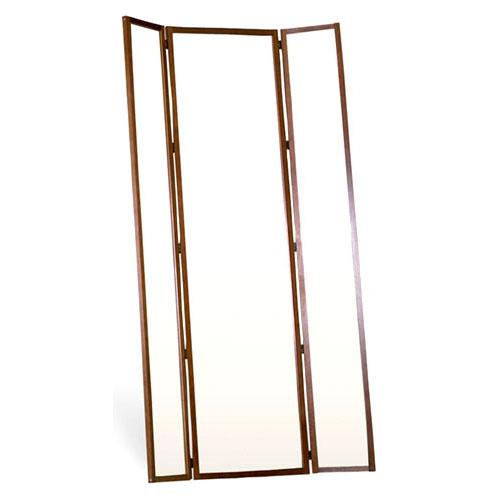三面鏡スタンドミラー(ブラウン) [鏡][姿見]