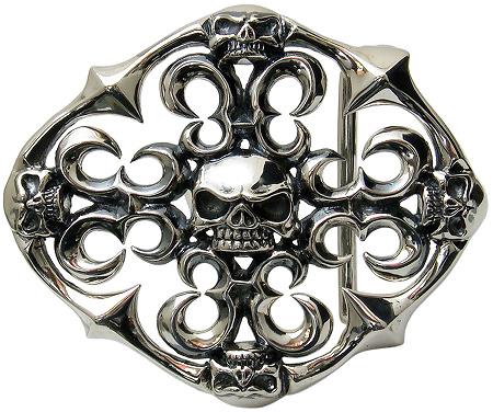 ドメスティックブランド M-011Nシルバー925バックル 純銀バックル単品♪【シルバーバックル】Sterling Silver [Silver925]ゴシックスカルバックル【ベルトバックル】【メンズバックル】【あす楽対応】